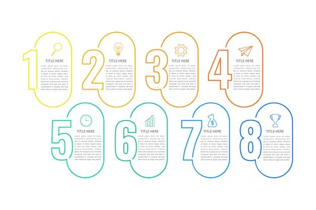 Plantilla de infografía de negocios, diseño de línea delgada con números 8 opción o paso