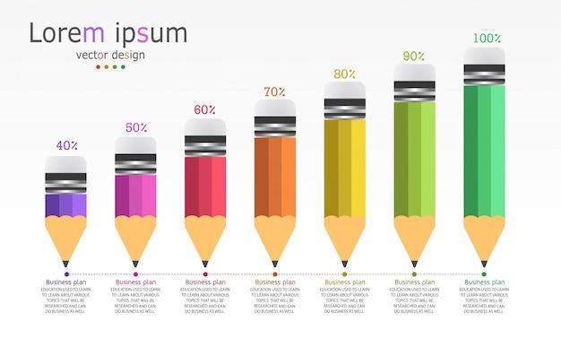 Plantilla de infografía de negocios y educación diagrama