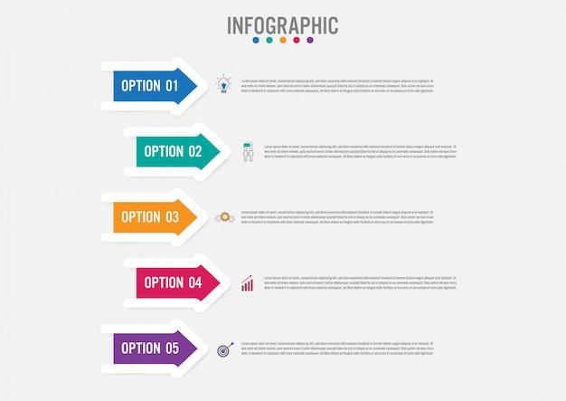 Plantilla de infografía de negocios con forma de flechas