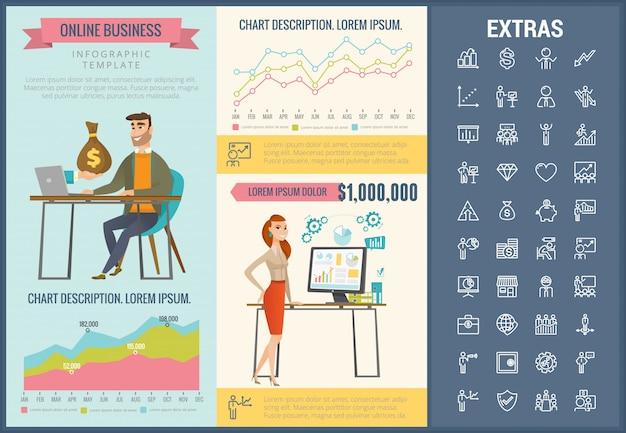 Plantilla de infografía de negocios en línea y conjunto de iconos