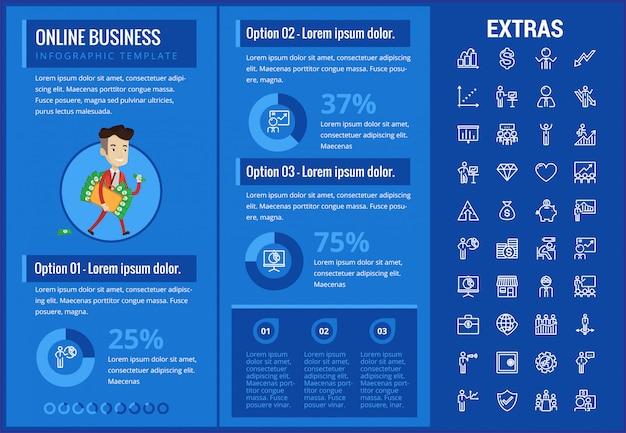Plantilla de infografía de negocios en línea y elementos