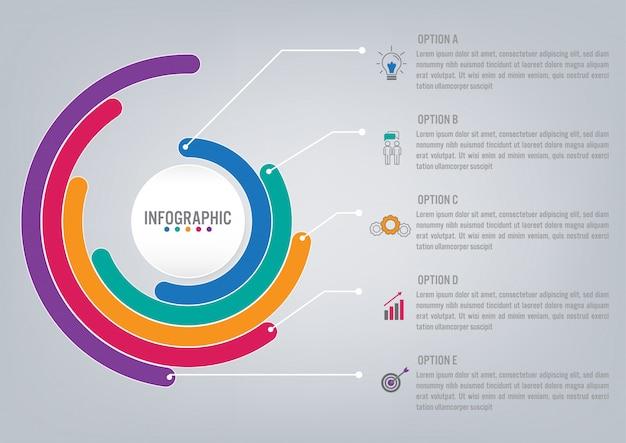 Plantilla de infografía de negocios con opciones