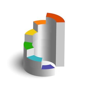Plantilla de infografía de negocios web abstracto con etapas coloridas de diagrama 3d en blanco aislado