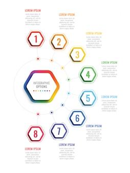 Plantilla de infografía de ocho pasos con elementos hexagonales realistas sobre fondo blanco.