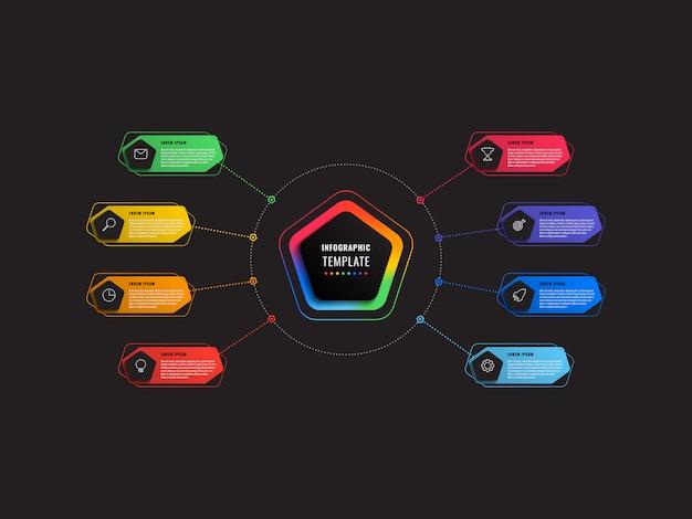 Plantilla de infografía de ocho pasos con pentágonos y elementos poligonales en negro