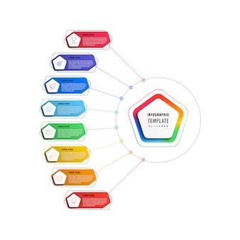 Plantilla de infografía de ocho pasos con pentágonos y elementos poligonales
