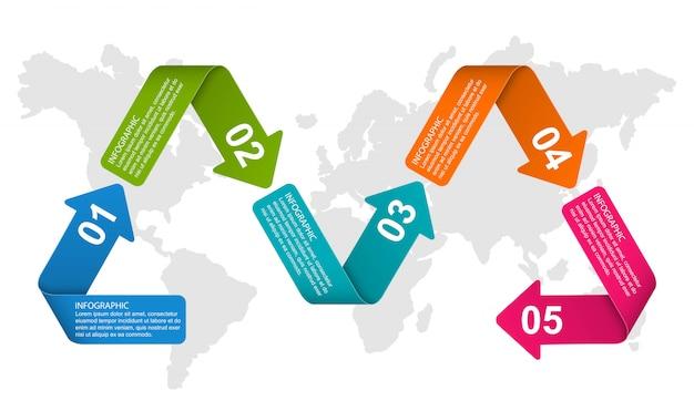 Plantilla de infografía con opción de números para presentaciones de negocios.