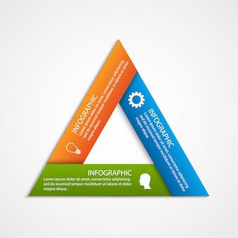 Plantilla de infografía opciones triangulares abstractas.
