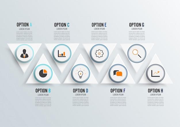 Plantilla de infografía con papel 3d.