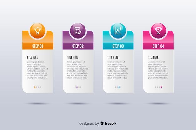 Plantilla de infografía de pasos de diseño plano