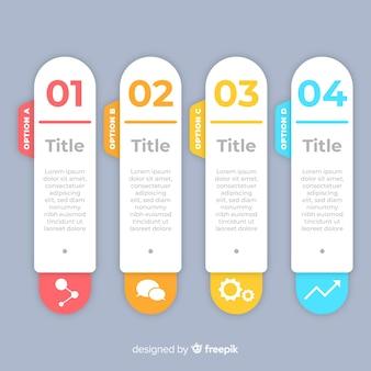 Plantilla de infografía pasos estilo plano