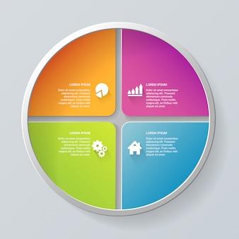Plantilla de infografía de pasos de proceso de elemento de segmento de círculo multicolor.