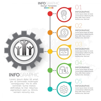 Plantilla de infografía con pasos y proceso para su diseño.