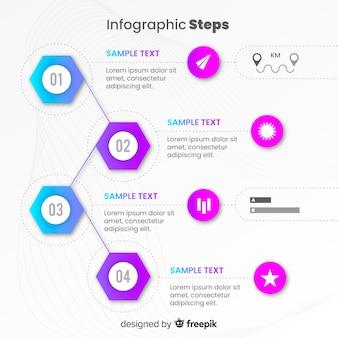 Plantilla de infografía con pasos