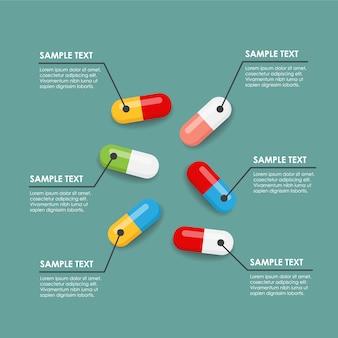 Plantilla de infografía con pastillas