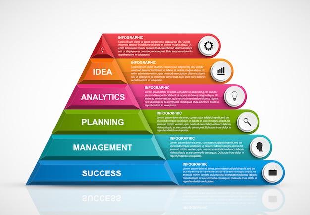 Plantilla de infografía con pirámide.