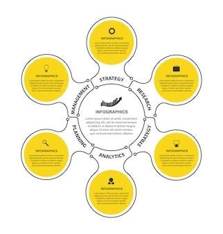 Plantilla de infografía plana con 6 opciones o pasos.