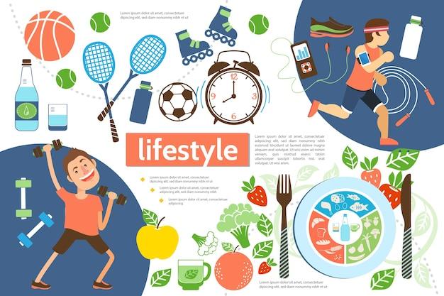 Plantilla de infografía plana de estilo de vida activo con atletas, equipo deportivo, reloj despertador e ilustración de alimentos saludables