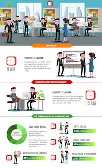 Plantilla de infografía plana de negocios de trabajo en equipo con ambiente de trabajo