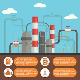 Plantilla de infografía de planta petrolífera