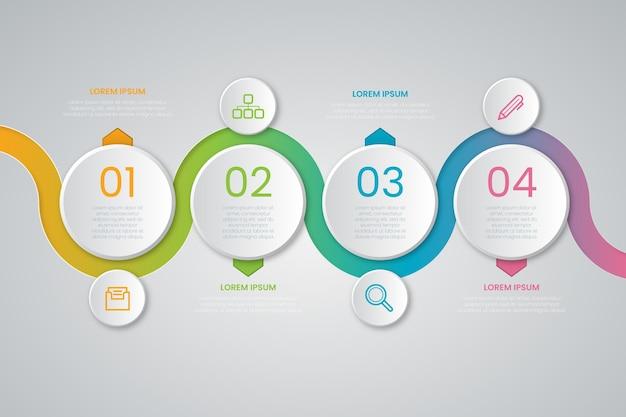 Plantilla de infografía de presentación empresarial gradiente línea de tiempo