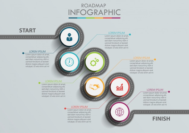 Plantilla de infografía de presentación de negocios hoja de ruta