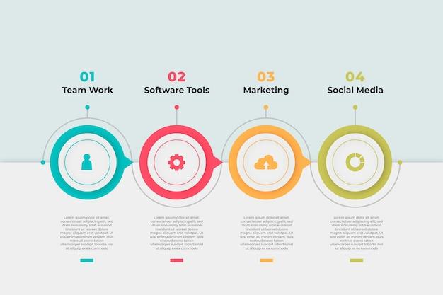 Plantilla de infografía de proceso gradiente