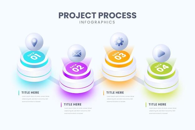 Plantilla de infografía de proceso isométrico