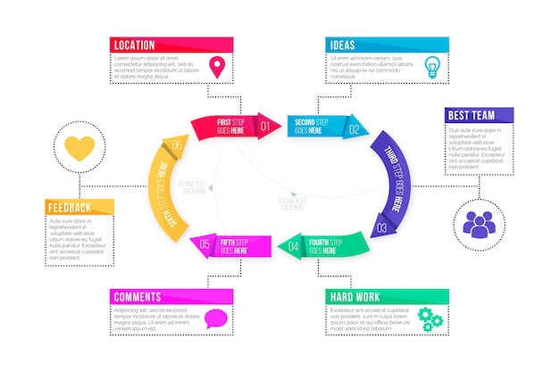 Plantilla de infografía de proceso plano