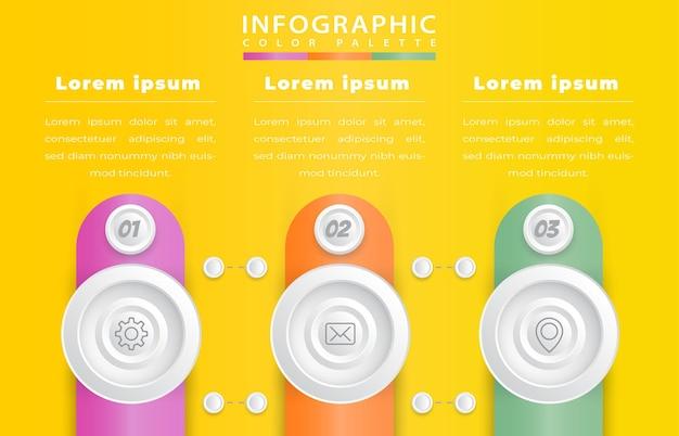 Plantilla de infografía de proceso realista con 3 pasos.