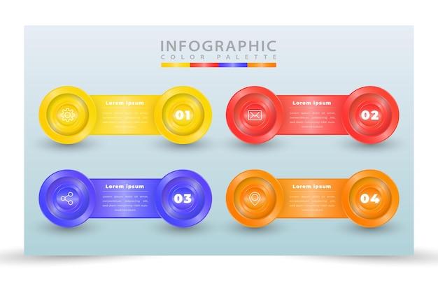 Plantilla de infografía de proceso realista de diseño vectorial de ilustración