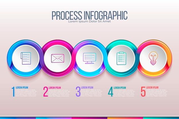 Plantilla de infografía de proceso realista