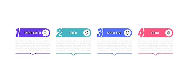 Plantilla de infografía de procesos de negocio con opciones o pasos. gráfico de ilustración.