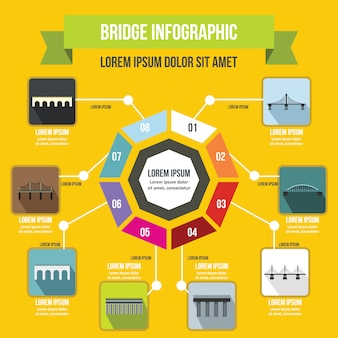 Plantilla de infografía puente, estilo plano.