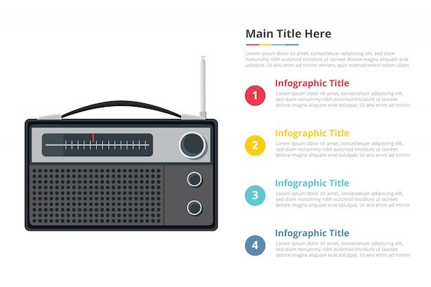 Plantilla de infografía de radio vintage con cuatro puntos