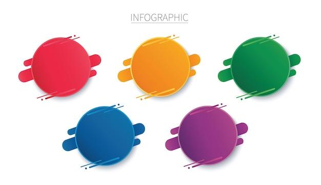 Plantilla de infografía redonda colorida con 5 opciones