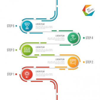 Plantilla de infografía resumen 5 pasos camino línea de tiempo.