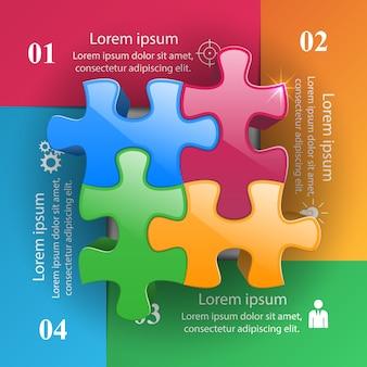 Plantilla de infografía rompecabezas 3d