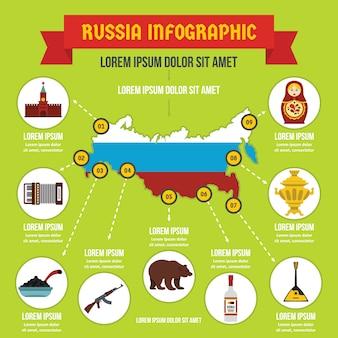 Plantilla de infografía de rusia, estilo plano