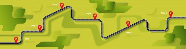 Plantilla de infografía de ruta y ruta de viaje