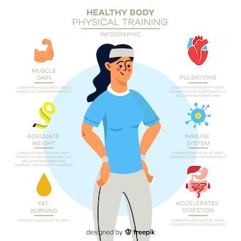 Plantilla de infografía de salud dibujada a mano