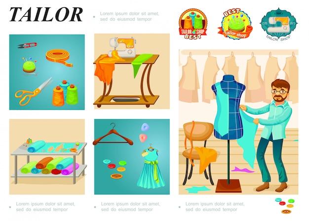Plantilla de infografía de sastrería plana con perchas maestras, botones de tela, tijeras, cinta métrica, carretes de hilo, cortadora, máquina de coser, etiquetas de sastre a medida