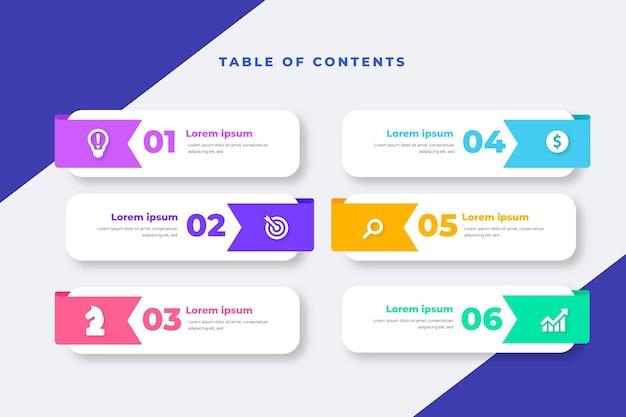 Plantilla de infografía de tabla de contenido de diseño plano