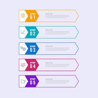 Plantilla de infografía de tabla de contenido plana lineal