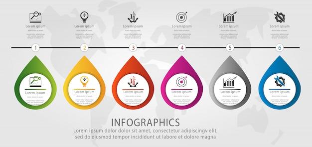 Plantilla de infografía timeline con seis elementos