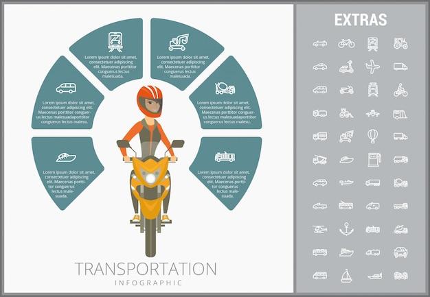 Plantilla de infografía de transporte y conjunto de iconos