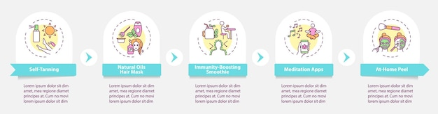 Plantilla de infografía de tratamientos de belleza. autobronceador, elementos de diseño de presentación de apoyo a la inmunidad. visualización de datos con 5 pasos. gráfico de la línea de tiempo del proceso. diseño de flujo de trabajo con iconos lineales