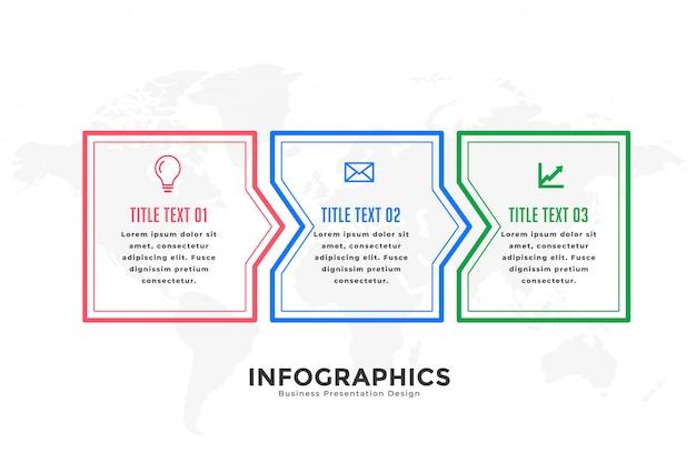 Plantilla de infografía de tres pasos en estilo de línea.
