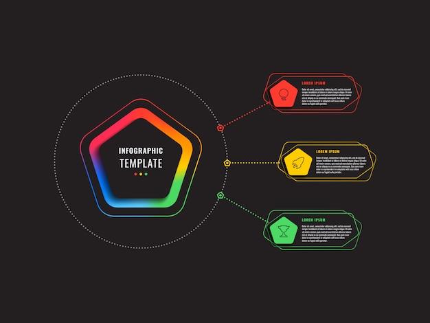 Plantilla de infografía de tres pasos con pentágonos y elementos poligonales en negro