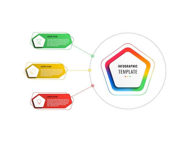Plantilla de infografía de tres pasos con pentágonos y elementos poligonales